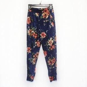 Monteau pants jogger velvet blue floral Small